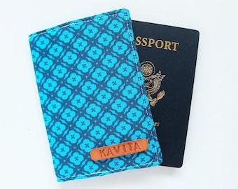 Employee Gift passport holder, Sky Blue Passport Holder, Personalized Passport wallet for Coworker - SKPC26