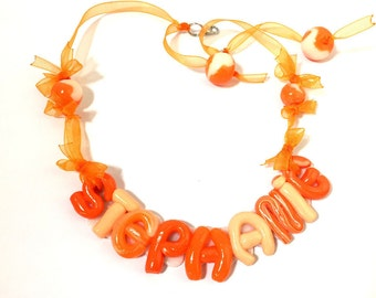 Necklace/Choker neck/fimo/fact hand/name/personalized/customizable/jewelry/idea gift/orange/pearls / personalized/organza/original gift