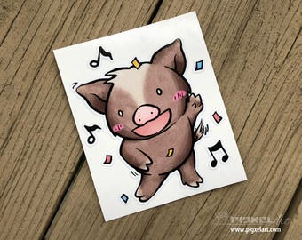 "Vinyl Decal Cute Little Pig ""Dancing"" Piggy Die Cut Art Indoor/Outdoor Chotto Sukoshi Buta Mini Pig Pigxel Art"
