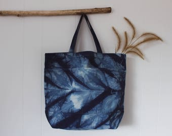 Hand Dyed Shibori Canvas Tote    Feather Collection
