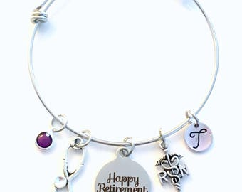 Retirement Gift for Woman RN Nurse, Stainless Steel Charm Bracelet Jewelry Silver Bangle initial Nursing letter initial birthstone Present