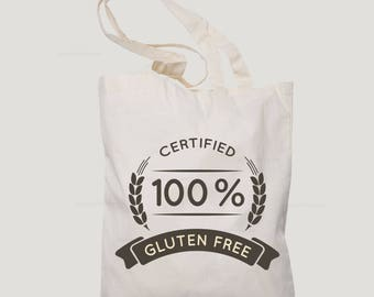 Certfied no gluten,girlfriend gift,gift for women,gift for her,canvas tote bag,tote bag canvas,gluten free bag,celiacs tote bag
