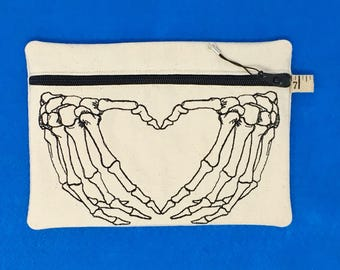 Skelly Heart Embroidered Zip Pouch
