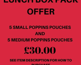 Lunch Box Pack - Do Not Purchase This Listing -  Poppins Waterproof Lined Zip Pouch - Sandwich bag - Eco - Snack Bag - Bikini Bag -