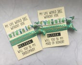 will you be my bridesmaid hair ties // my life would succ without you // succulents // cactus // custom