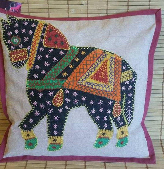 Horse embroidery cushion covers, ethnic pillow, decorative pillow, boho bedroom decor, Bohemian decoration, Stone wash cotton, Patch work