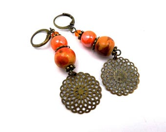 Bohemian earrings, orange, mustard yellow, bronze plated brass, ceramic beads prints