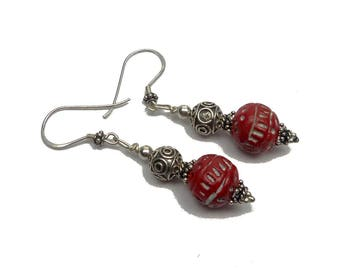 Earrings silver red homemade clay beads, ethnic chic