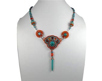 Embroidered necklace turquoise, orange, silver, leather, gemstone, boho hippie