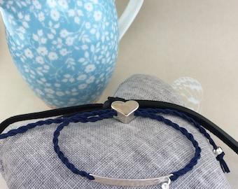 Friendship bracelet, cord friendship bracelet,  heart toggle, cord bracelet, slide cord bracelet, curved bar, hammered bracelet