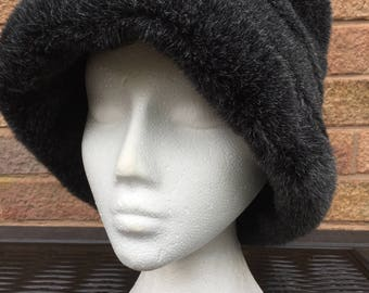 Vintage Black Faux Fur Hat from St Michael 1970's. Marks & Spencer Hat.  Cloche Hat - One Size - New with Tags