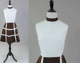 60s Brown White Dress - Windowpane A-Line Skirt - Sleeveless - Mr. Kolber - Vintage 1960s - S