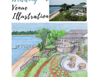Wedding Venue Illustration Custom Illustration Event Illustration Custom Anniversary gift Custom Wedding Gift Handmade illustration