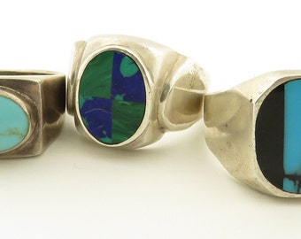 5 Vintage Assortment of Silver Turquoise, Malachite & Onyx Rings.