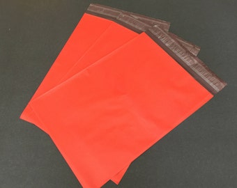 100  7.5 x 10.5 RED Poly Mailers  Self Sealing Envelopes Shipping Bags Christmas Valentine's Day