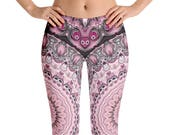 Capris, Sexy Leggings, Pink and Black Leggings, Yoga Pants Gifts for Her, Custom Leggings for Women, Mandala Fashion Tights
