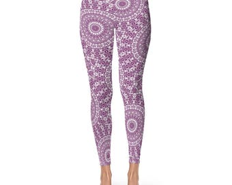 Patterned Leggings for Women - Mandala Yoga Pants, Byzantium Yoga Leggings Pants