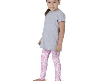 Girls Pink Leggings, Kids Yoga Leggings, Yoga Pants, Children's Pink and Gray Activewear