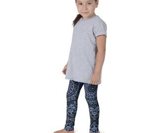 Girls Dark Blue Leggings, Kids Yoga Pants, Children's Leggings Printed Blue