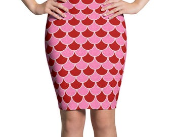 Valentine's Skirt, Red and Pink Mermaid Scales Pencil Skirt, Stretchy Patterned Skirt, Women's Knee Length