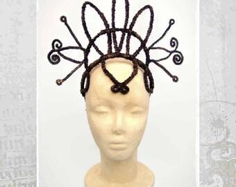Tribal Fusion Headdress, Headband, Tribal fusion Headpiece,  bronze Headdress, Dark Fusion Headdress, Goth Headdress