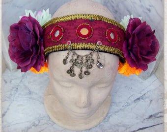 ATS Costume Headdress, Flowers Headpiece, Tribal Fusion Headdress, Tribal Belly Dance Headband, Festival Headpiece, Gypsy, Boho Headdress