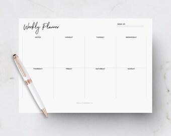 A4 Weekly Planner, Printable Planner, Weekly Desk Pad, Office Planner, Weekly Schedule, Weekly To Do List, Boss Girl Printable