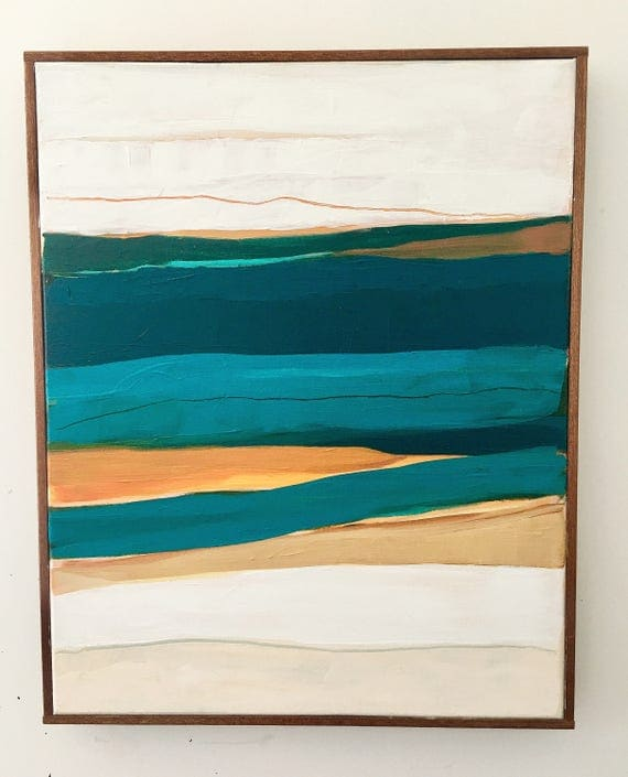 Turquoise Abstract Seascape Painting Original