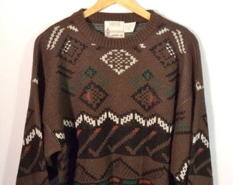 80s soft southwest sweater// Vintage London Fog USA made// Slouchy Native Indian design bohemian oversize knit pullover// Unisex size XL