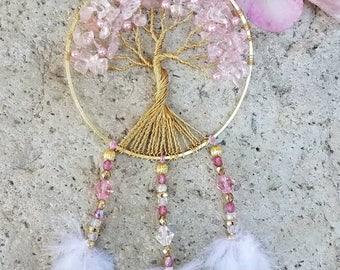 Tree of Life Car Charm/Suncatcher/Pink Quartz/Swarovski