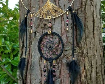 Black Tourmaline/Swarovski Tree of Life Dream Catcher/Wall Hanging/Room Decor