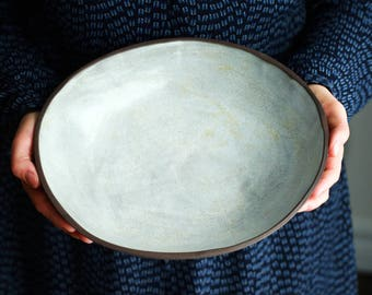Organic white pottery serving bowl rustic  wabi sabi ceramic