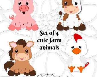 SVG Cut Files, Barn Farm Animal SVG Set, Cow SVG, Baby Horse Cut File, Cute Pig Svg, Chicken svg cut files, Dxf files