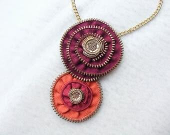 Zipper necklace, Flower necklace, Handmade necklace, Zipper jewelry, Handmade jewelry, Gift for her