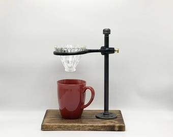 Adjustable Single Pour-Over Coffee Station - Industrial Edition: coffee stand, coffee dripper, coffee maker, hario, v60
