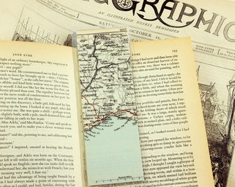 BOOKMARK - Lyme Regis - Dorset Map 1884 - Coast - Recycled Book - Vintage Travelguide