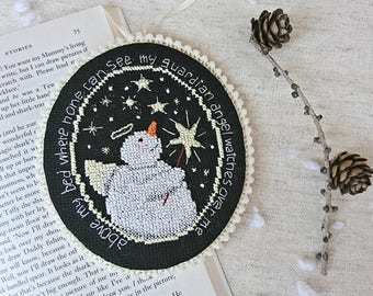 Cute cross stitch funny snowman ornament Christmas tree decoration nursery wall decor Christmas kids gift guardian angel gift idea Christmas