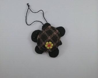Turtle w/yellow & orange button/accent/ornament/ hand stitched