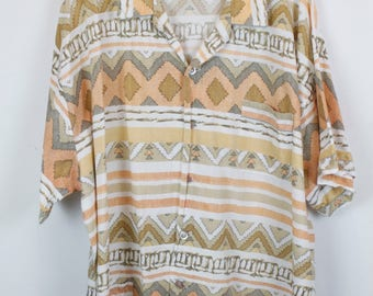 Vintage shirt, 90s clothing, shirt 90s, ethno, short sleeves, oversized