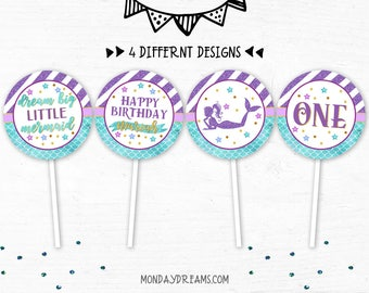 Printable Mermaid Party Decoration, Mermaid Party Cupcake Topper Birthday Girl, Under the Sea Party Cupcake Topper, Purple, Aqua and Gold