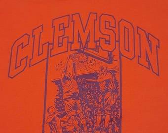 1997 NCAA Clemson Tigers Basketball Vintage Orange Cotton Blend T-Shirt XL