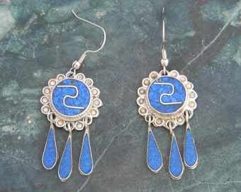 Mexico Alpaca Silver Vintage Dangle Earrings Crushed Blue Stone Inlays A23