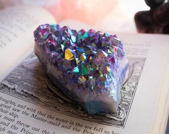 Large Rainbow Aura Amethyst, Aura Amethyst, All Chakras, Metaphysical, Karma, Harmony, Transformation, Healing Crystal, Altar, Crystal Grid
