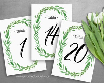 Table numbers wedding - Printable table numbers - Table number cards - Wedding table numbers greenery table numbers botanical wedding decor