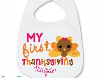 My First Thanksgiving Bib Turkey Baby LONG SLEEVE Bodysuit Thanksgiving Personalized Shirt One Piece