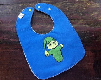 Glow Worm Upcycled Recycled T-Shirt Bib with Cotton Terry Cloth Back - Blue - OOAK