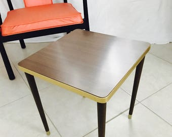 Vintage Coffee Side Table, Formica Top, Midcentury Modern 1950u0027s, Wooden  Legs, Brown