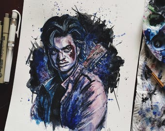 Steve Harrington | Stranger Things inspired watercolor portrait