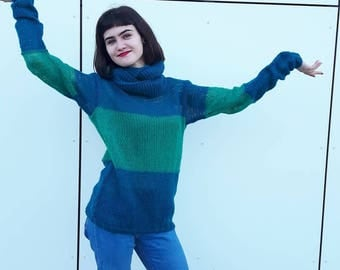 Mohair  sweater and scarf, Green mohair women  sweater,  Handmade knit sweater and scarf, Loose knitwear,Long sleeves,  OOAK, Ready to ship