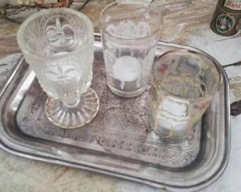 French shabby glasses for tea light, vase, Siber tray